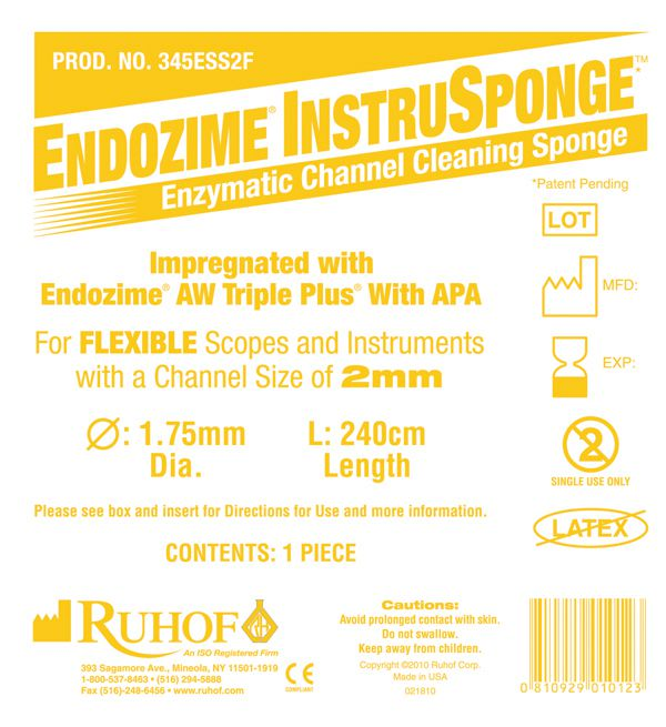 Endozime InstruSponge For Flexible Instrument - Cleaning, 1.75Mm, Box of 100 - Model 345ESS2F