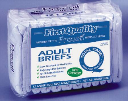 First Quality Brief Full Mat Body Shaped, 45-58 Inch Large Blue Moderate-Heavy Absorbency, Pkg of 72