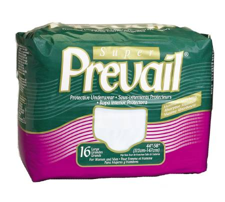 Prevail Underwear Pull-On, 44-58 Inch Large Blue Moderate-Heavy, Super Plus Absorbency, Pkg of 16