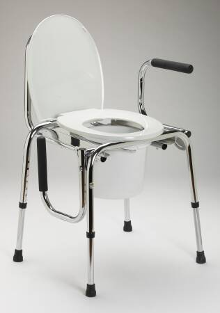 Guardian Commode Chair, Chrome-Plated Steel Removable Back 18-1/2 to 23-1/2 Inch, White, Each