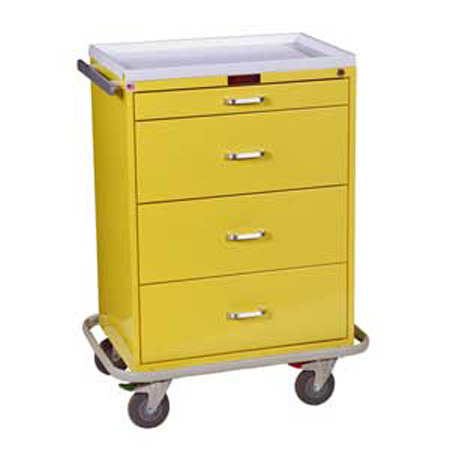 Harloff Four Drawer Infection Control Cart with Key Lock Standard Package - Model 6520, Each