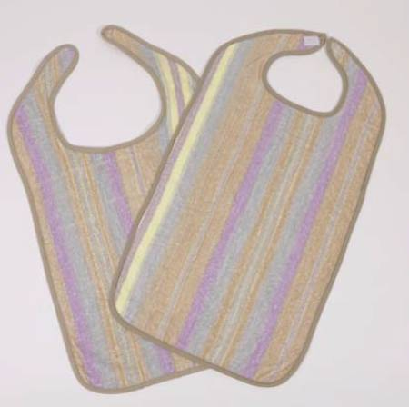 Bib Hook and Loop Reusable 100% Cotton Terry, Blue/Yellow/Purple/Beige Striped, Pkg of 12
