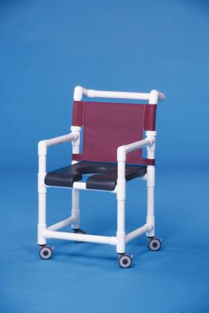 IPU Deluxe Shower Chair, PVC With Backrest 17 Inch, Gray, Teal, Each - Model SC717G
