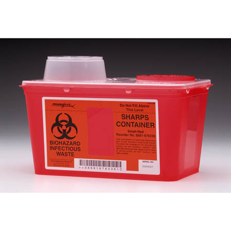 MONOJECT Sharps Containers - Chimney-Top, 4 Quart 6.75