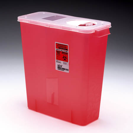 Multi-Purpose Sharps Containers - Red Container with Rotor Lid, 2 Gallon 10