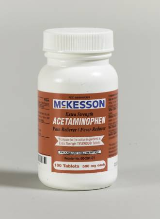 McKesson Pain Reliever, Tablet 100 per Bottle 500 mg - Model 60-201-01
