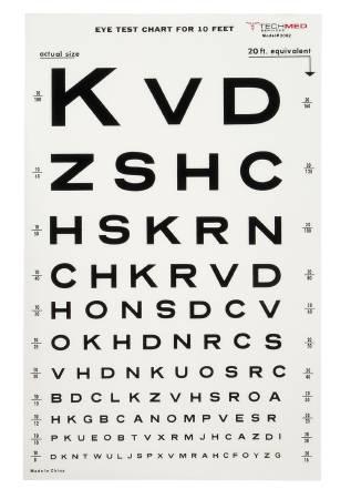distance eye test chart: Mckesson medi pak eye test chart 10 feet snellen 9 x 14 inch