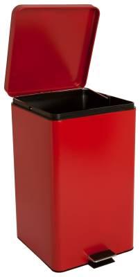 entrust Step On Trash Can with Plastic Liner, 32 Quart Red Steel, 11-1/2D X 12-1/4W X 18-1/4H Inch