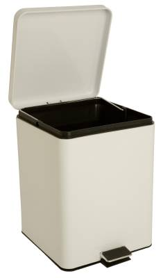 entrust Step On Trash Can with Plastic Liner, 20 Quart White Steel, 11D X 11-3/4W X 17-1/4H Inch