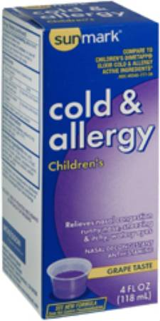 McKesson sunmark Childrens Cold and Allergy Relief Liquid, 2 5-1MG/5 4 oz ,  Each - Model 49348077734