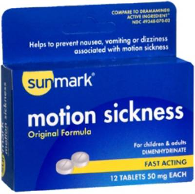 McKesson sunmark Motion Sickness Relief, Tablet 12 per Box 50 mg - Model 49348007002