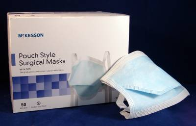 Mckesson Fits Green One Pleated Mask Surgical Ties Size Most