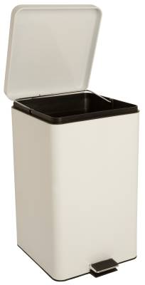 entrust Step On Trash Can with Plastic Liner, 32 Quart White Steel, 11-1/2D X 12-1/4W X 18-1/4H Inch