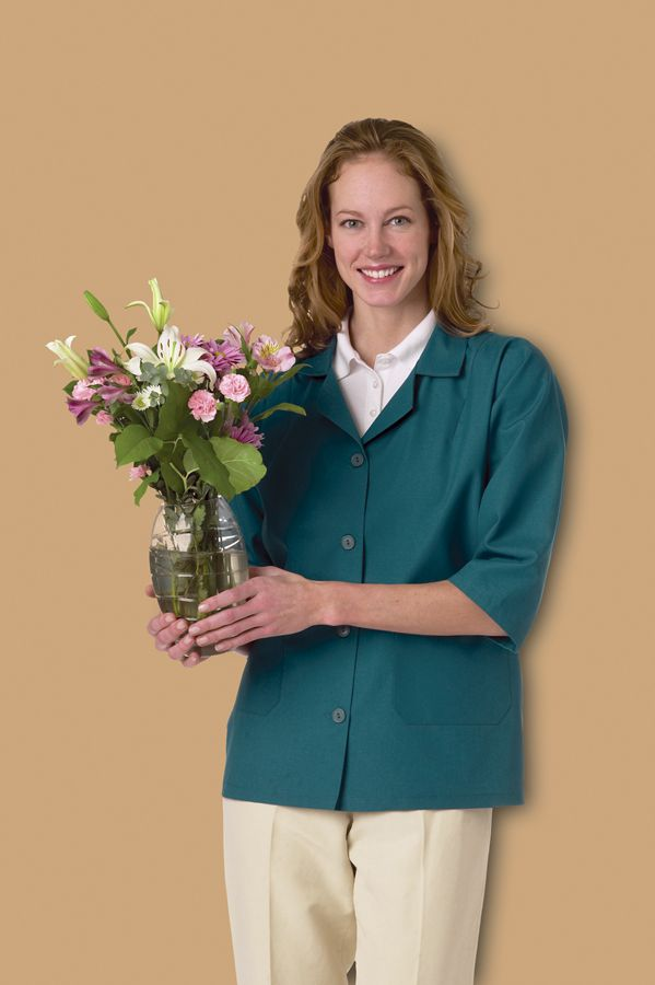 Ladies Three-Quarter Length Sleeve Smock - 3/4 Slv, 65P/35C, Wine, Large, Each - Model MDT76003433