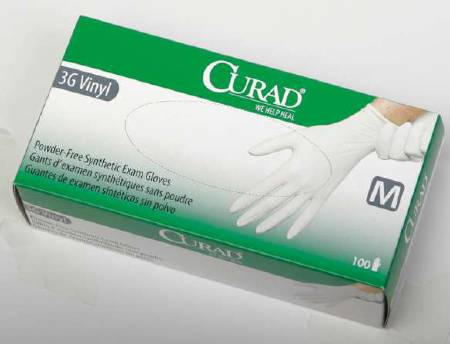 Medline Curad 3G Exam Glove, NonSterile Powder Free Vinyl Smooth White Large, Box of 100 - Model CUR8236