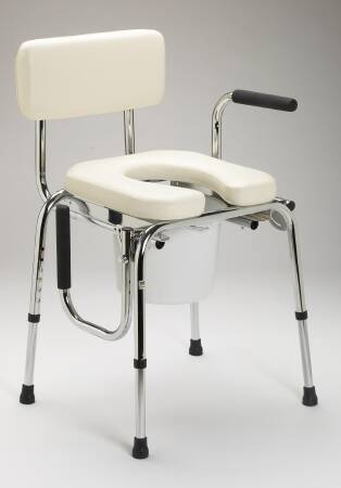 Medline Guardian Commode Chair, Chrome-Plated Steel Removable Back 20 to 25 Inch, Beige, Each - Model G98204