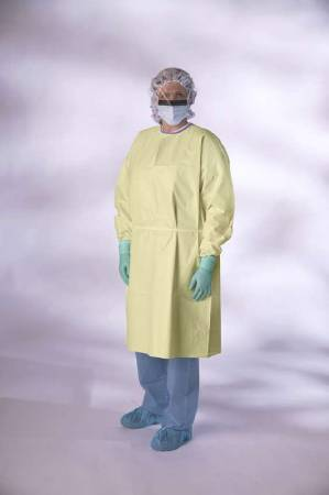 Medline Premium Isolation Gown, X-Large Yellow, Pkg of 100 - Model NONLV315XL