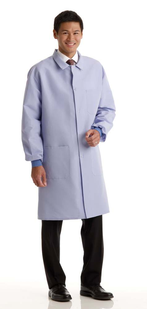 Medline Men's ResiStat Protective Lab Coat - Lt. Blue, 3Xl, Each - Model MDT046811XXXL