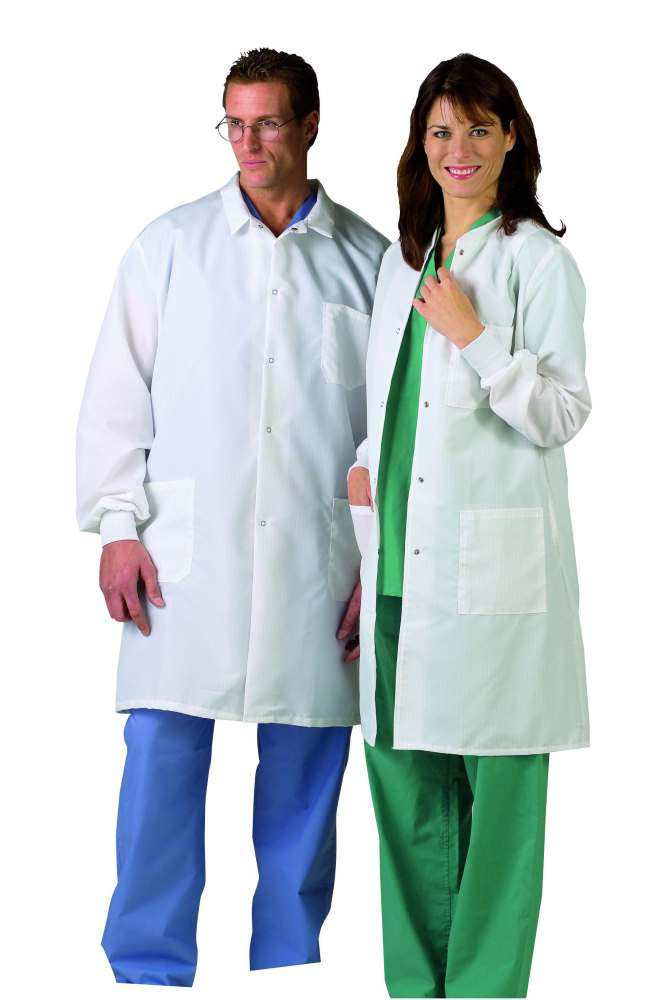 Medline Men's ResiStat Protective Lab Coat - White, Sm, Each - Model MDT046805S