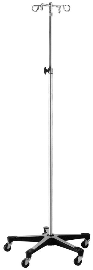 Blickman Health Stainless Steel Foot Operated IV Pole - Stand, 4 Hook, Each - Model 518888400