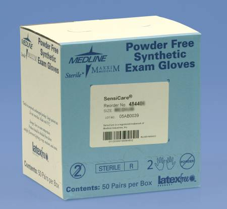 SensiCare Exam Glove, Sterile Powder Free Polyvinyl Chloride Smooth Ivory Large, Box of 50