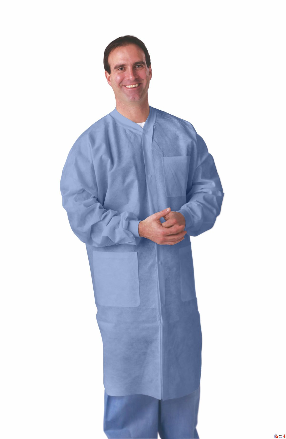 Knit Cuff/Traditional Collar Multi-Layer Lab Coat - Mltilyr, Knt Cf/Collar, Blue, 2Xl, Box of 30