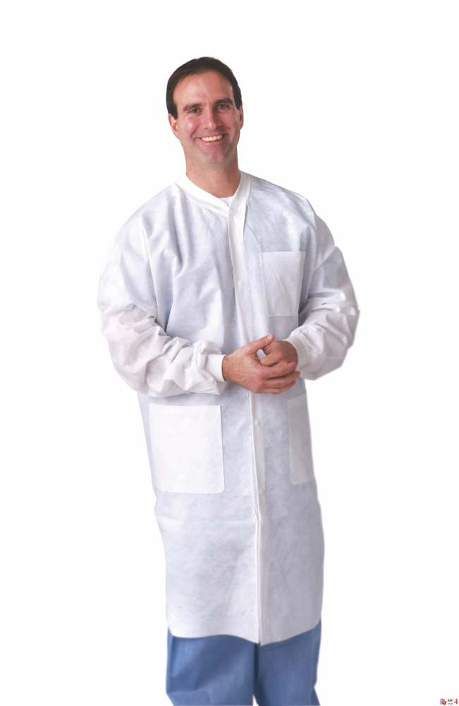 Knit Cuff/Traditional Collar Multi-Layer Lab Coat - Knt Cuff/Collar, Wht, Large, Box of 30