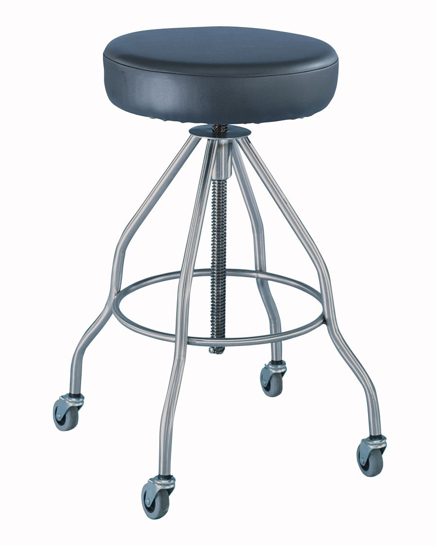 Blickman Health Exam Stool - Revol, Stnls Steel Legs, Padded Seat, Each - Model MDR711014PSS