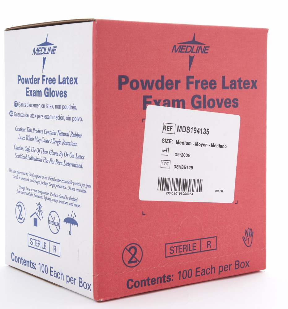 Medline Sterile Powder-Free Latex Exam Glove - Pf, Singles, Md, Box of 400 - Model MDS194135