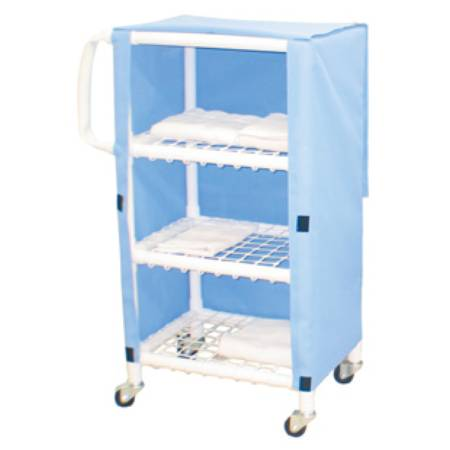 MJM International Linen Cart 75 Lb Per Shelf, Ceil Blue, Each - Model 325T-3C