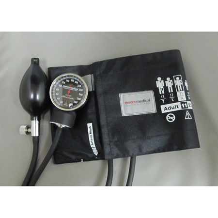 MooreBrand Premium Pocket Aneroid Sphygmomanometer Latex Free, Adult, Black, Each
