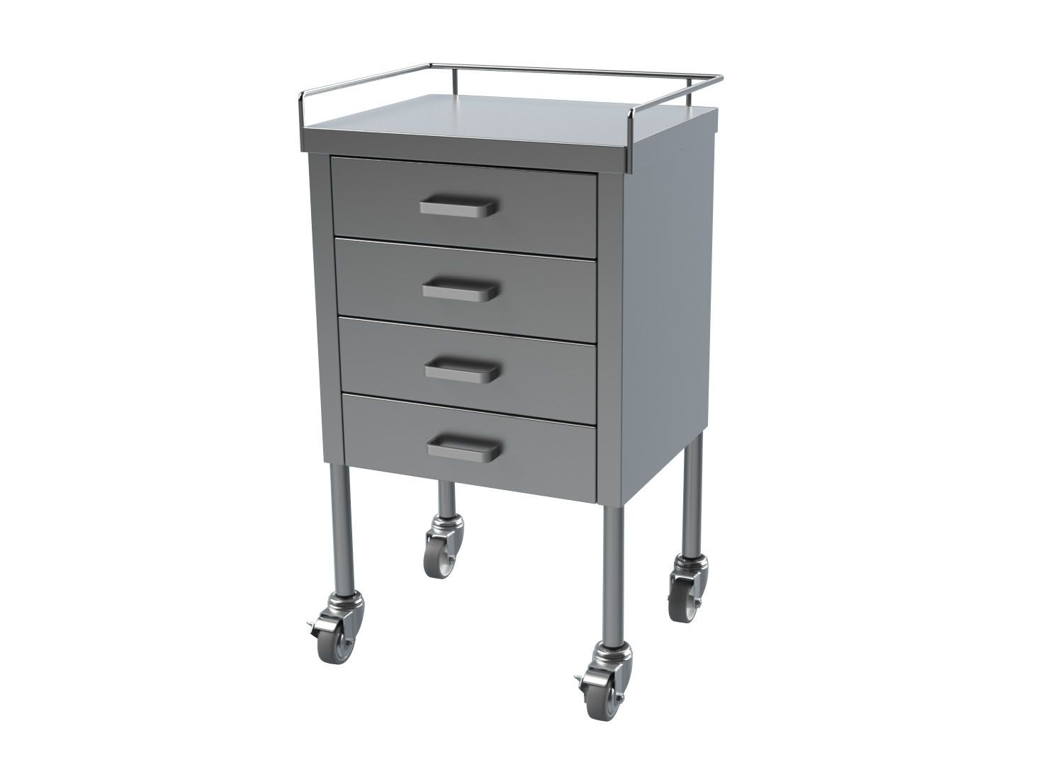 Multiple Drawer Stainless Steel Utility Tables With Guard Rail   Prep,  20X16, W/