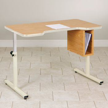 Personal Work Table w/ Small Cut-Out and Tilt Top w/out Casters - Item #081506278