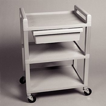 Poly 3-Shelf Cart w/ Drawer, White - Item #560478