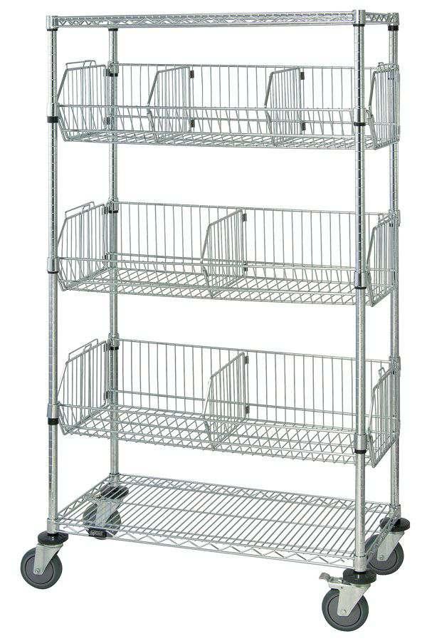 Quantum Storage Systems Mobile Wire Basket Unit Rack 18x36x69 Each Model M1836bc6c