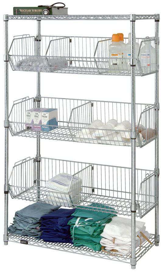 quantum storage systems stationary wire basket unit rack. Black Bedroom Furniture Sets. Home Design Ideas