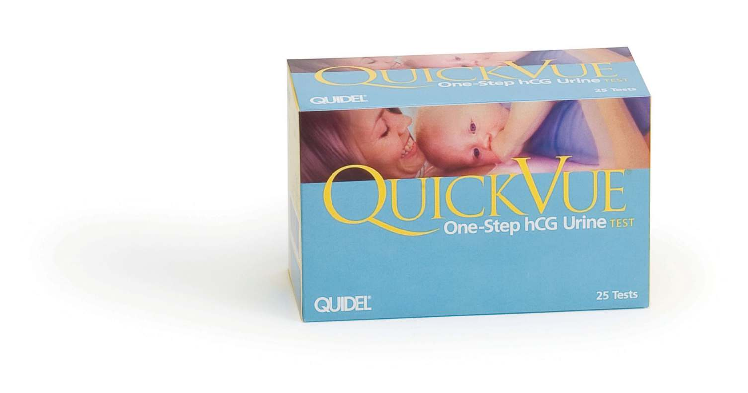 Quidel QuickVue One-Step hCG Urine Pregnancy Test - Cass, Box of 25 - Model 20109