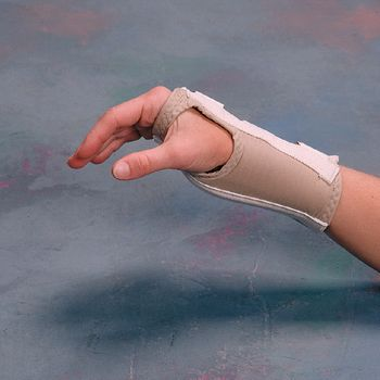 Rolyan Enlarged Thumb Hole D-Ring Wrist Brace - Long Length - Left, X-Small - Model A61111