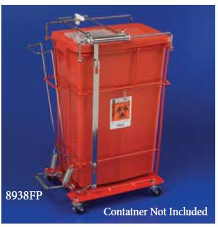 SharpSafety Large Volume SharpsCart - Floor, F/Sharps, Wheels, 8, 12, 18 Gal, Each - Model 8992H