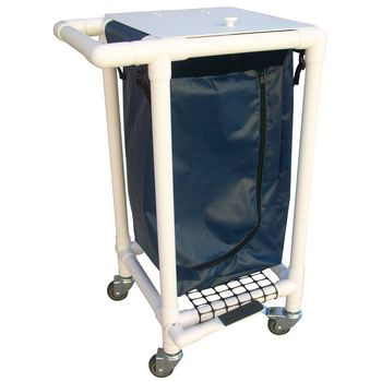 Single Bag Laundry Hamper - Jumbo w/Universal Lid, Wood Tone PVC, Navy - Item #566153
