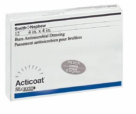 Smith & Nephew Acticoat Burn Antimicrobial Barrier Dressing 4 X 4 Inch Sterile, Gray / Blue, Each - Model 20101