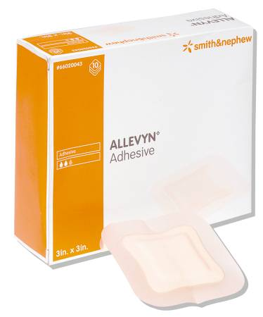 Smith & Nephew Allevyn Adhesive Adhesive Pad, Hydrocellular 3 X 3 Inch, Beige, Box of 10 - Model 66020043