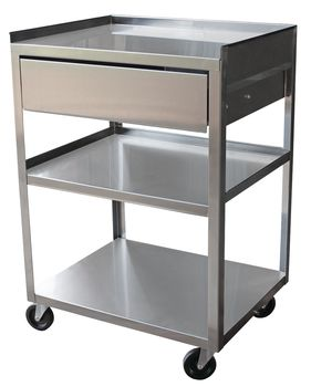 Stainless Steel Cart - Three-Shelf Cart w/ Drawer - Item #554072