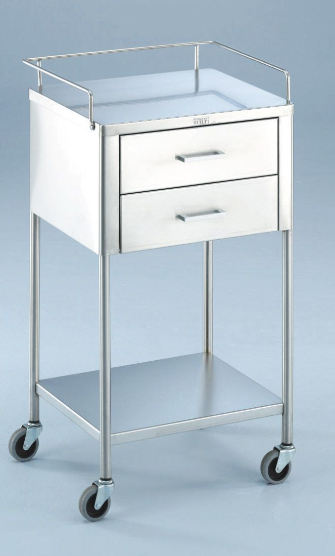 Stainless Steel Utility Table - Anesthesia, 2 Drawer w/ 3Grd Rails, Each - Model 227754000