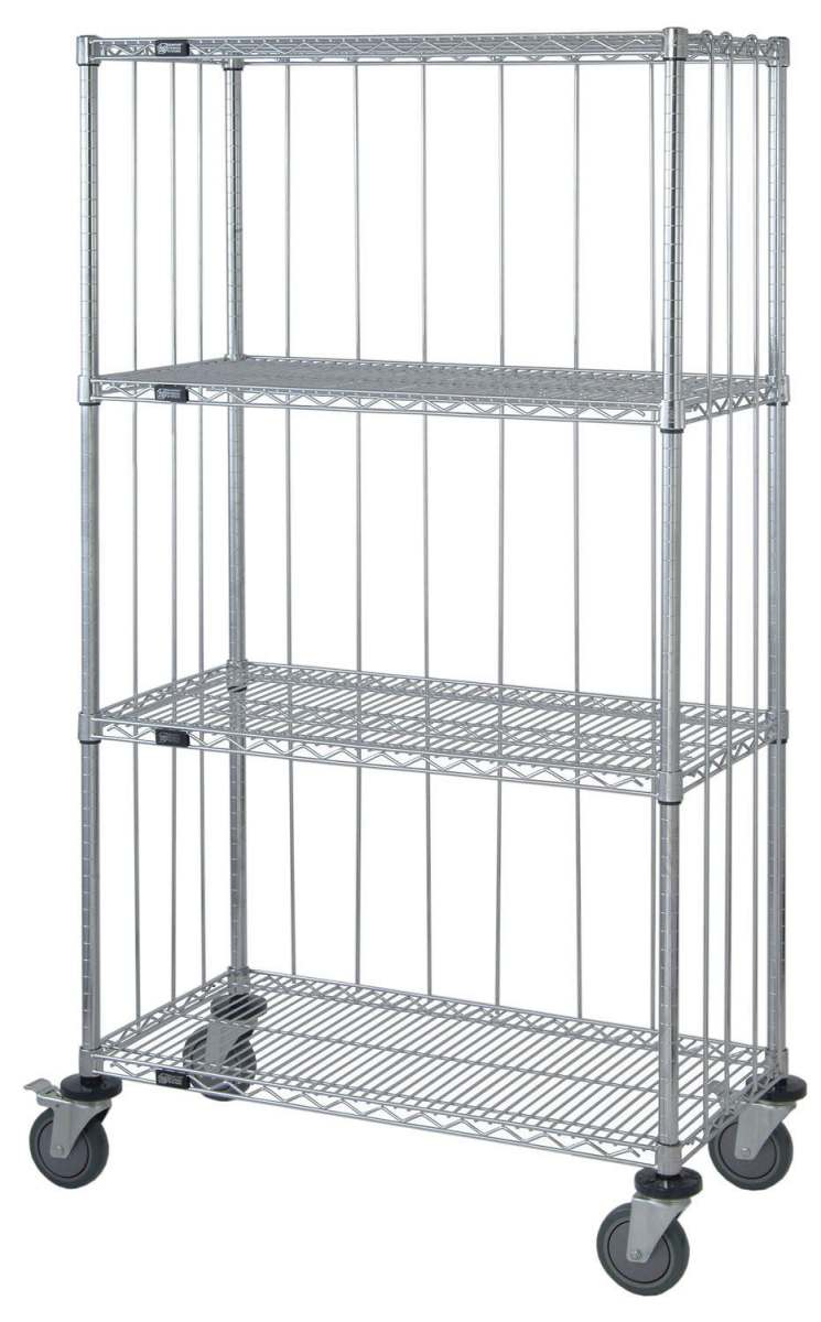Three Sided Enclosure Cart - Enclosed, 24X48X69, 4 Wire Shelves ...