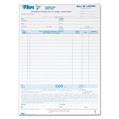 tops business forms form bill lading ncr quad pack of 50 model