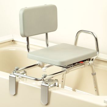 Eagle Health Tub Mount Sliding Transfer Bench W Swivel Padded Seat Item 559266