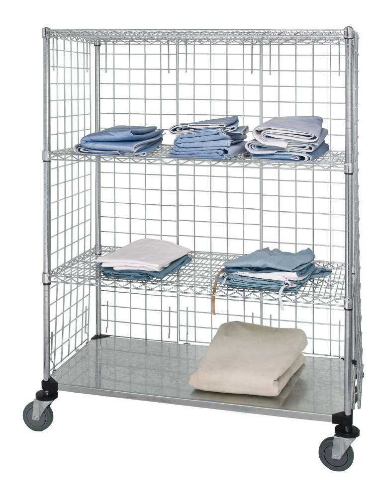 Wire Three Sided Linen Cart 24X60X69 3Wir 1Sld Each Model WRCS EP