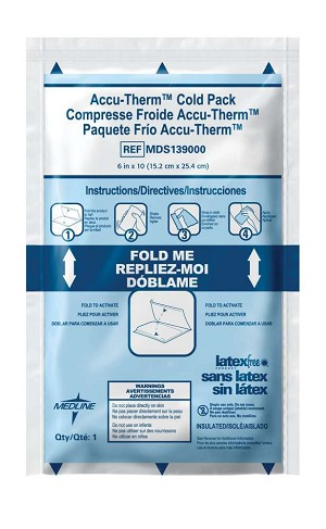 "Medline Accu-Therm Instant Cold Pack - Heavy-Weight, Jr, 4""X6"", Box of 16 - Model MDS138010"