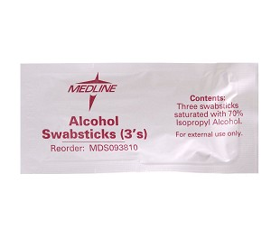 Medline Alcohol Swabstick - 3/Pack, Box of 250 - Model MDS093810